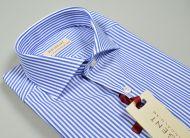 Camicia slim fit pancaldi collo francese a righe azzurro