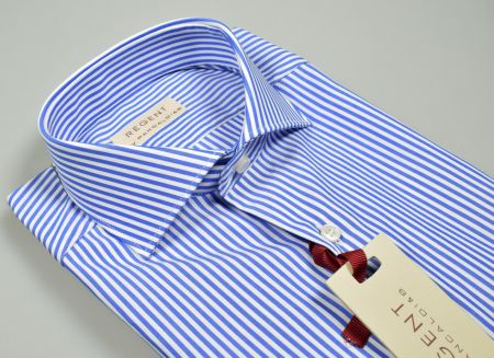 Slim fit pancaldi shirt with blue french neck