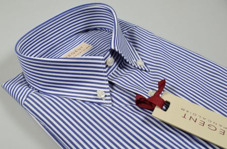 Camicia pancaldi regular fit collo button down a righe azzurro in puro cotone