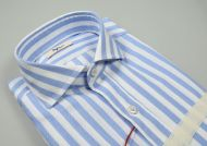 Slim fit ingram shirt with stripes blue French neck