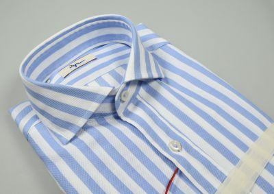Camicia slim fit ingram a righe celeste collo alla francese