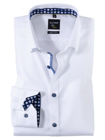 Camicia slim fit bianca olymp in cotone operato stretch