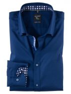 Camicia slim fit blu olymp in cotone operato stretch
