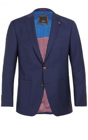 Giacca blu marine digel drop quattro corto lana marzotto con tasche a toppa