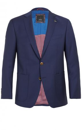 Navy blue jacket digel drop four short wool Marzotto with patch pockets