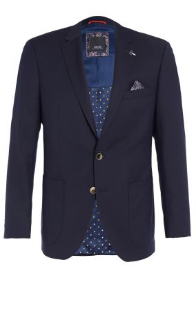 Dark blue jacket digel drop four short wool marzotto with patch pockets