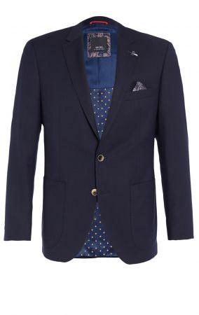Giacca blu scuro digel drop quattro corto lana marzotto con tasche a toppa