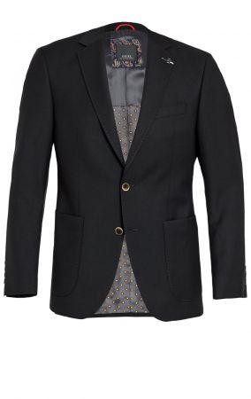 Giacca nera digel drop quattro corto lana marzotto con tasche a toppa