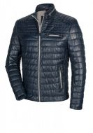 Blue marine quilted leather milestone jacket with one hundred grams padding