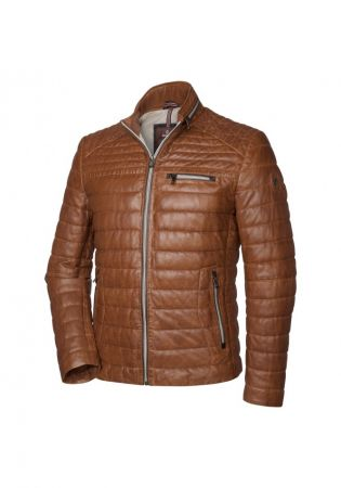 Milestone cognac perforated leather jacket with seventy-five grams padding
