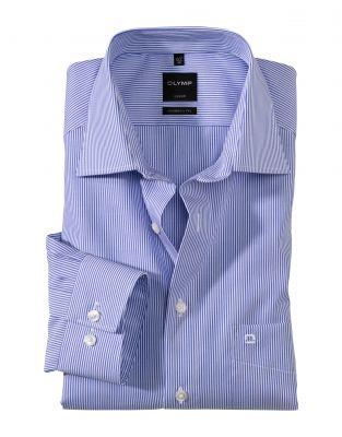 Camicia a righe azzurro olymp modern fit cotone stiro facile