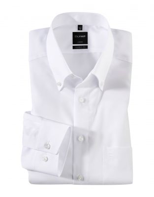 White button down shirt olymp modern fit cotton no ironing