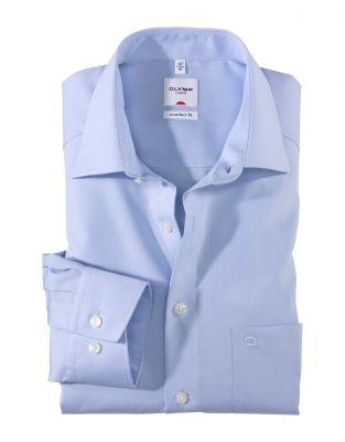 Camicia olymp luxor in cotone chambray no stiro comfort fit