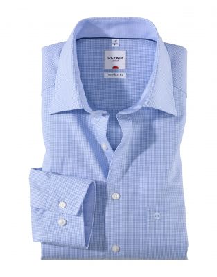 Camicia olymp a quadretti in cotone facile stiro comfort fit