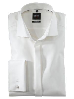 Camicia ecru elegante da cerimonia olymp con polso doppio