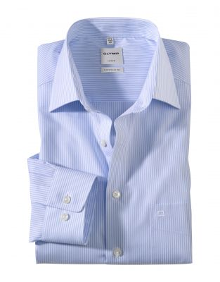 Blue striped shirt olymp luxor comfort fit cotton iron easy