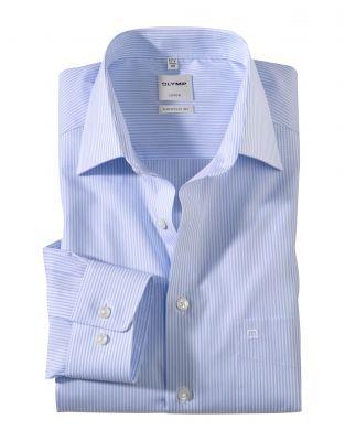 Camicia a righe celeste olymp luxor comfort fit cotone stiro facile