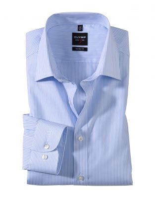 Slim fit olymp shirt with sky blue stripes in stretch cotton
