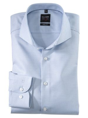 Blue square shirt olymp cotton diamond twill slim fit
