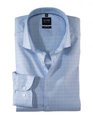 Camicia celeste a quadri olymp slim fit cotone twill stretch