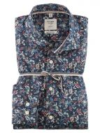 Shirt olymp body slim fit cotton blue floral print