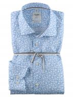 Shirt olymp body slim fit cotton light blue print with flowers