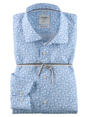Camicia olymp body slim fit cotone stampa celeste a fiori