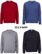 Maglione pullover collo a V olymp in lana pettinata merino extra fine