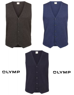 Gilet panciotto body fit olymp in lana e seta pettinata