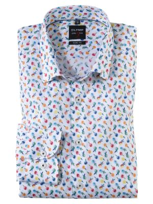 Slim fit olymp cotton bodysuit shirt with fruit print