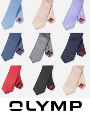 Slim tie in pure silk olymp in eight colors