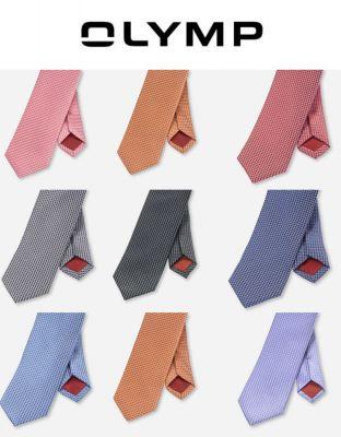 Pure silk slim olymp tie in nine colours