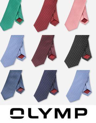 Cravatta a pois slim in seta pura olymp in otto colori