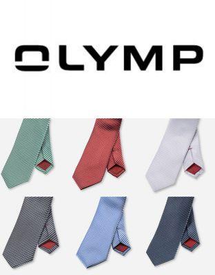 Cravatta slim regimental a righe in seta pura olymp in sei colori