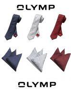 Cravatta olymp con fazzoletto da giacca in seta damascata