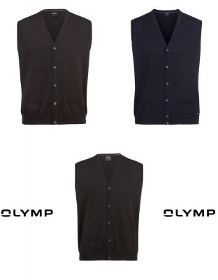 Buttoned-up waistcoat with pockets olymp the combed merino wool