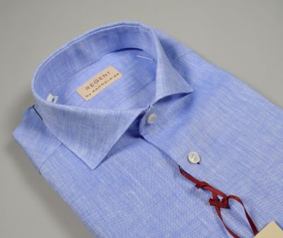 Light celestial pancaldi shirt slim fit in pure linen neck to the French