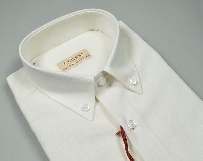 Camicia pancaldi button down maniche corte in misto lino e cotone