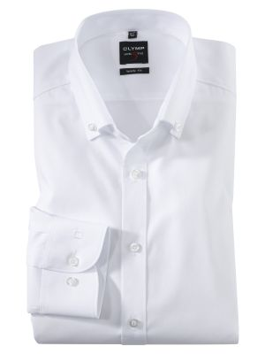 Shirt olymp slim fit white neck button down cotton stretch