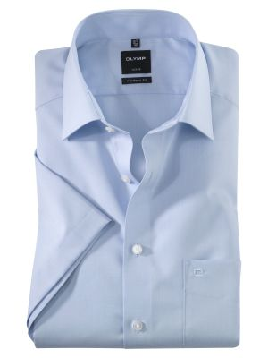 Short-sleeved olymp shirt in super light chambray cotton