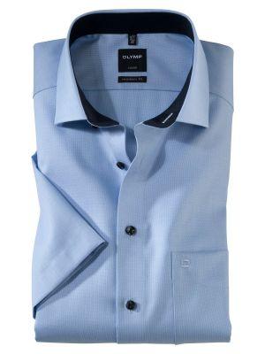 Camicia manica corta olymp in puro cotone operato no stiro modern fit