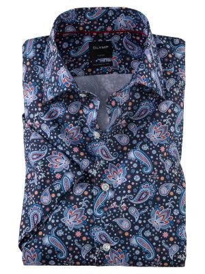 Shirt olymp short sleeve modern fit cotton print jacquard flowers