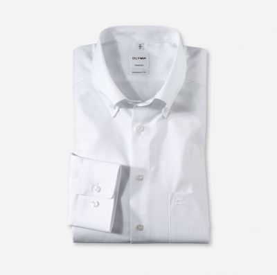 White shirt olymp neck button down with modern fit pocket