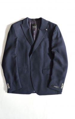 Giacca digel blu slim fit con petto a lancia in misto lana
