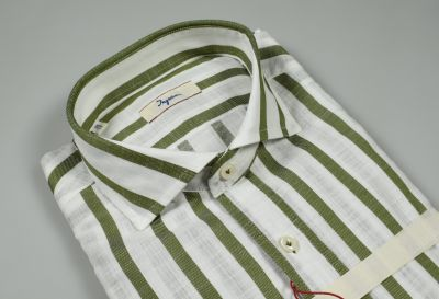 Camicia slim fit ingram a righe verde collo alla francese