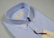 Camicia regular fit pancaldi cotone a quadretti celeste