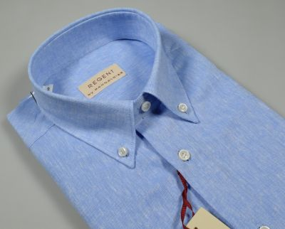 Sky-blue shirt pancaldi button down short sleeves in linen and cotton mixture