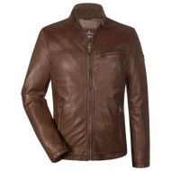 Milestone straight-bottom brown leather jacket