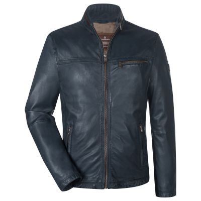 Blue leather jacket at straight bottom milestone