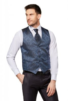 Panciotto gilet blu completo di cravatta e pochette digel cerimonia